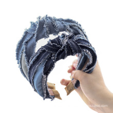 Bandeau cheveux tali rambut Fabric Denim Wide Headband Solid Autumn Winter Hairband For Women Girl Hair Accessories Lady Gift Wholesale