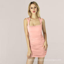 new arrival ladies' fashion hanging neck bandage summer dress sexy tight folds woman dress