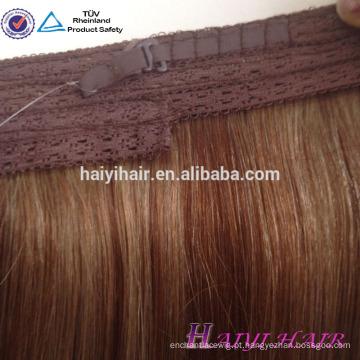 """Cabelo virgem europeu 12 """"~ 26"""" fábrica halo cabelo extensões de cabelo"""