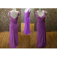 V-neck Open Back Lace Evening Dress 2014 Mother of Bride Dress Purple Color Chiffon Party Dress BYE-14092