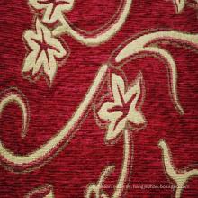 Tejido de tapicería de Jacquard de chenilla rojo