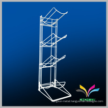 Custom wire knockdown white metal water bottle display stands