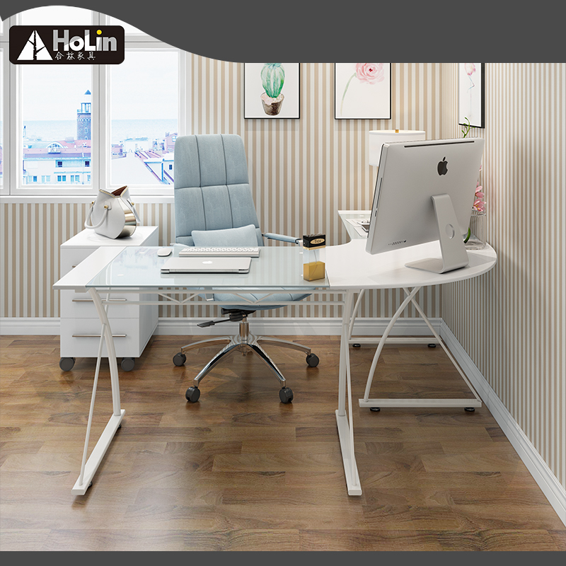Corner white Computer Desk