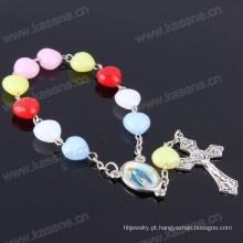 Cheap Coração Novo Beads Plástico Handmade Rosário Pulseiras