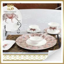 Leopard Ceramic dinnerware saudi arabia market italian porcelain dinner set