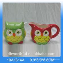 Eule Serie Keramik Zucker Topf und Milchkännchen