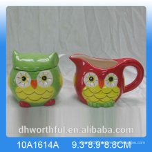 Owl series ceramic sugar pot and milk jug