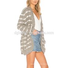 Benutzerdefinierte Herbst neuesten Frauen gestrickte Jacke Mode gestreiften Strickjacke