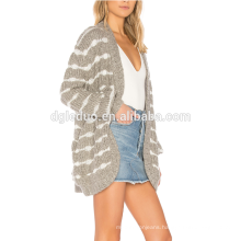 Custom Autumn Latest women knitted jacket fashion striped cardigan sweater