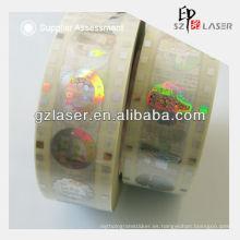 PET Material de la hoja de la etiqueta engomada de la transferencia de calor con efecto brillante del holograma