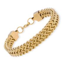 Bracelet en or 18 carats de 8,5 po en acier inoxydable double Franco