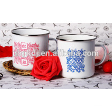 Enamel mug two color decals