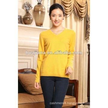 Simple V neck women 100% pure cashmere jumper