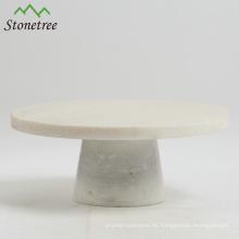 Soporte redondo blanco de la torta de mármol