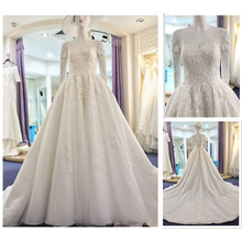 Wholesale 2016 New Fashion Long Sleeve Flower Ladies Wedding Dress Real Lace Beads Puffy Bridal Ball Gown 2016 A214