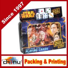 Star Wars Saga Doppeldeck von Spielkarten in Zinn mit 5 Bonus Würfel (430178)