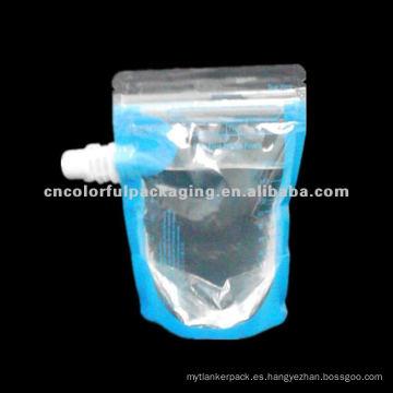 200 ml levántese el paquete de la bolsa del pico del diseño especial transparente para el líquido