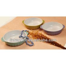 KC-04004china fabricación exportó el tazón de fuente de cerámica con la manija dos, cuenco de los cabritos