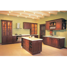 Red Color Style Solid Wood Kitchen Cabinet