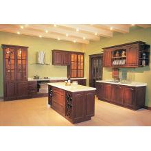 Gabinete de cozinha em madeira maciça de cor vermelha