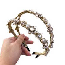 Bandeau fascia per capelli Rhinestone Pearl Headband Luxury Hair Accessories Korean Baroque Handmade Hairband Vintage For Women Girls Gift