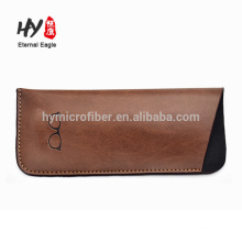 Small size custom logo leather glasses bag