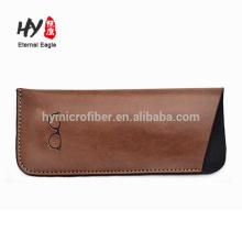 Small size custom logo leather glasses bag