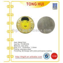 Esmalte macio de aço inoxidável moeda comemorativa, moeda de lembrança com epóxi