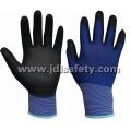Luva de Nylon azul com Palm PU revestido (PN8004-15B)