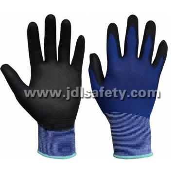 Gants de travail en Nylon bleu avec PU paume enduite (PN8004-15 b)