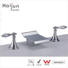 Haijun Goods On Sale Contemporary Deck Mounted 3-Hole Handwash Basin Mixer Faucets