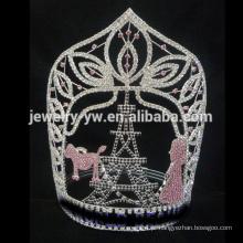Diamante grande personalizado Torre Eiffel coroa de tiara pageant, tamanhos personalizados aceitar