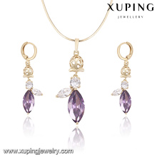 62185 xuping Colorful cheap bridal 14k gold plated zircon necklace and earrings jewelry set