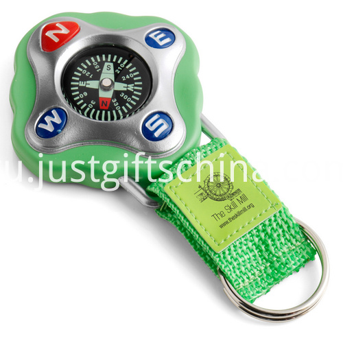 Promotional Green Color Compass Keyrings
