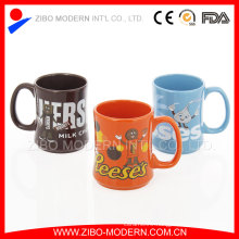 Chocolate Mug Special Shape Ceramic Mug with Brand Decal Design