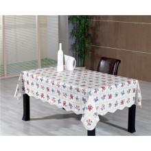 Heiße Verkaufs-Quadrat-Form PVC druckte Muster-Tischdecke mit Rückseite