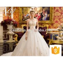 Perla cristalina atractiva del cordón que rebordea por encargo los vestidos nupciales formales largos Vestidos De Noiva Los últimos diseños del vestido de boda 2017