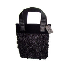 Promotional Tote Bag, Black Satin and Sequin, Fashionable for Lady
