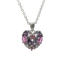 925 Серебряный многоцветный каменный кулон в форме сердца