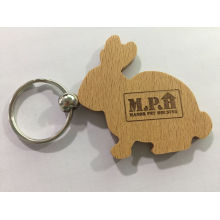 Factory Promotional Souvenir Custom Rabbit Shape Blank Wooden Key Chain