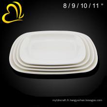 En gros mélamine vaisselle blanche en céramique hôtel utilisé assiettes