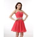 Vestido de noche del vestido rojo de la gasa de las señoras del vestido de la mini gasa de las mujeres del diseño de China OEM
