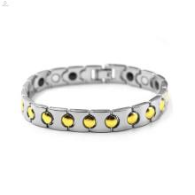 Best Selling homens ouro prata aço inoxidável pulseira magnética jóias