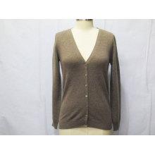 Las mujeres de punto con el botón de manga larga suéter de rebeca