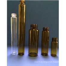 Frasco de cristal Tubular Mini de color ámbar de 10ml para el embalaje cosmético