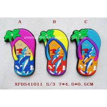 Maglia del flip flop di turismo del silicone, magnete del pattino della spiaggia di gomma, magnete del flop di Custom Flip, maglietta del pistone su ordinazione