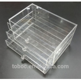 Wholesale clear 3 drawer storage acrylic makeup organizer, acrylic cosmetic organizer display, drawer box