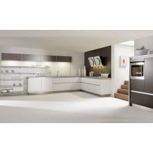 Gabinete de cozinha em aço inoxidável em forma de L