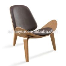 China fez cadeira de madeira de forma de concha de PU preto com encosto