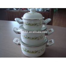 elegant royal hot enamel pot sets with plastic handle